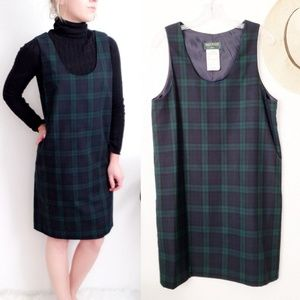 90s Vintage Tartan Plaid Jumper Pinafore Dress 013